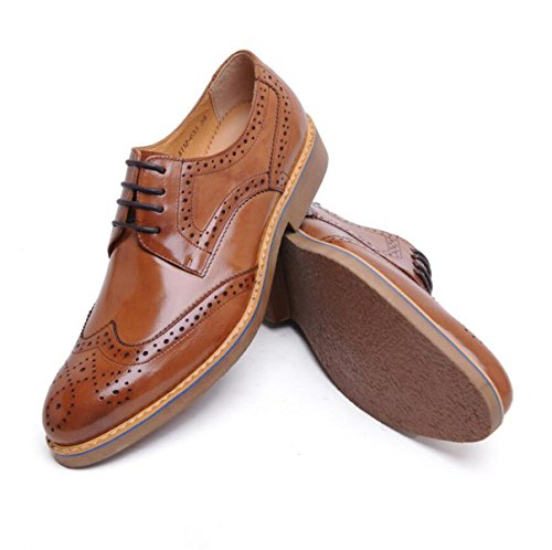 GRRONG Chaussures En Cuir Pour Homme En Cuir Véritable Pointu Tenue Respirante yellow