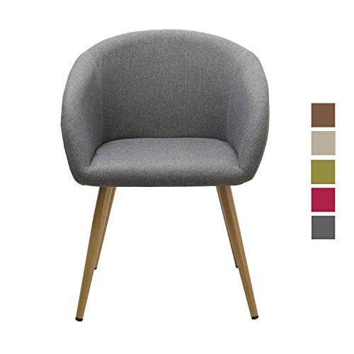 Esszimmerstuhl aus Stoff (Leinen) Grau Farbauswahl Retro Design Stuhl mit Rückenlehne Metallbeine Holzoptik WY-8023
