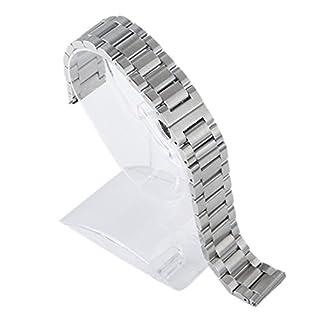 Aubig Edelstahl Schmetterling Schnalle Uhrenarmband Band für Motorola Moto 3602nd Gen Herren 46mm Silber