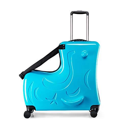METTE Bagaglio a Mano per Bambini, 20 \'\' Pieghevole Valigia Scooter Multifunzionale con Ruote a Mano per aeroporto Travel Business School 20-35L, Unisex,Blue