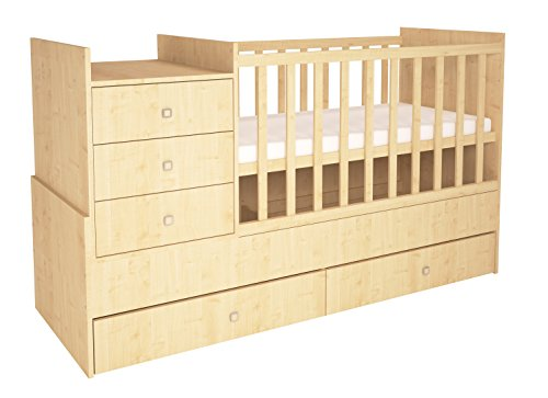 Polini Kids 0001226.30 Simple 1000 Kinderbett mit Schublade, Natur -