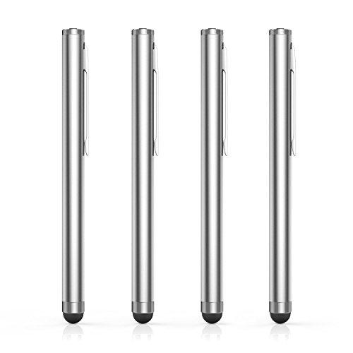 MoKo Universal Stylus Stift (4 Stück) - 8mm Durchmesser Gummi Spitze Hoch Präzis Touchstift Eingabestift, geeignet für Apple ( iPhone 8, iPad ), Tablets, Smarphones, Silber