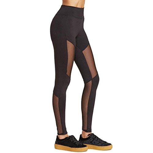 Pantalon de Sports,Tonwalk Femmes Taille haute Maigre leggings Yoga Workout Engrener Pantalons Noir