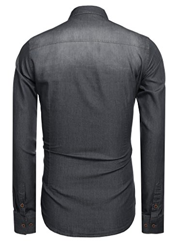 CRAVOG Mode Chemise Jean Homme Mince Manches Longues / Shirts Boutonné Slim Décontracté Sport Gris