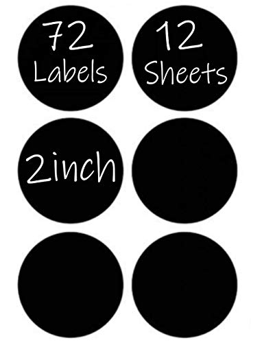 72 Round Chalkboard Mason Jar Lid Canning Labels for Food Storage, Pantry, Spice Jars & Freezer! Waterproof Black Vinyl Chalkboard Stickers are Ideal for Chalk Markers (1.9 Inches Wide) (Amazon Jars Mason)