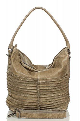 FREDsBRUDER Riffel Raptor sac d'épaule en cuir de vachette ciré - grand (39 x 36 x 9 cm) Beige
