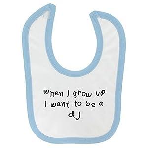 When I Grow Up. DJ Design Baby Bib Blue Contrast Trim and Black Print