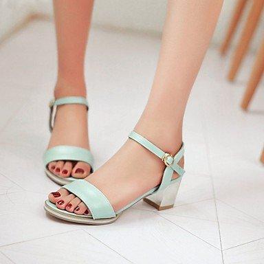 LvYuan Da donna Sandali Finta pelle PU (Poliuretano) Estate Autunno Footing Fibbia Quadrato Bianco Blu Rosa 5 - 7 cm Blue