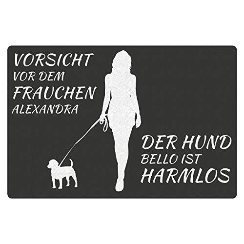 Fußmatte - Hund mit Frauchen (Welpe mit Zwei Namen): Schmutzfangmatte für drinnen und draußen - lustiges Geschenk für Hundebesitzer - Verschiedene Hunderassen - mit Wunschnamen personalisiert