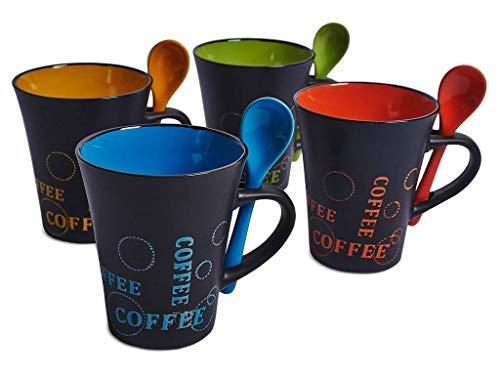 BARGAINS-GALORE 4x Taza de café con Cuchara Juego de té Tazas de café Bebida de cerámica Cocina Espresso