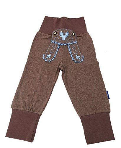 Babyhose Jungen Sweathose braun im Lederhosenstil mit blauer Stickerei Gr.86