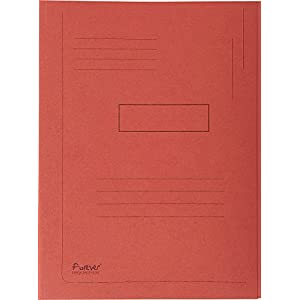 Exacompta Folder 445003E (Recycled Cardboard Label 2 Flaps Foldyne Forever A4, Red