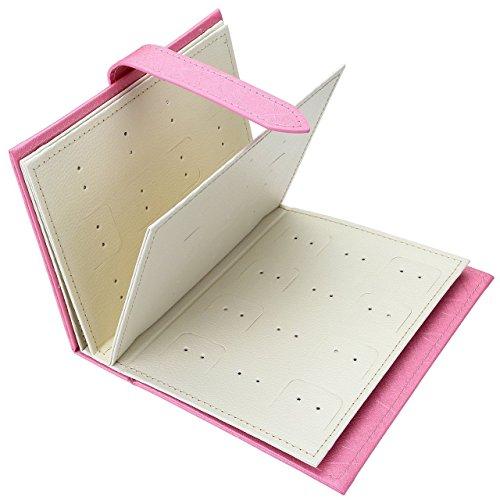 Ohrringhalter Schmuckkästchen Ohrringe Aufbewahrung Ohrringständer Schmuckständer Weihnachtsgeschenk Geburtstagsgeschenk für Mädchen Frauen Damen (Pink) - 3