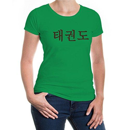 buXsbaum® Girlie T-Shirt Taekwondo Kellygreen-Brown