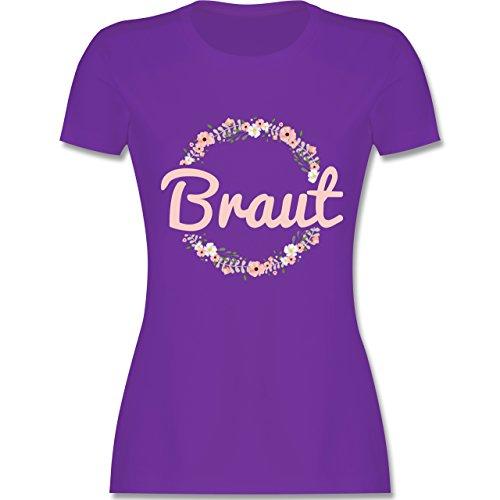 JGA Junggesellinnenabschied - Braut Blumenkranz rosa - S - Lila - L191 - Damen Tshirt und Frauen T-Shirt - Lila Blume Shirt