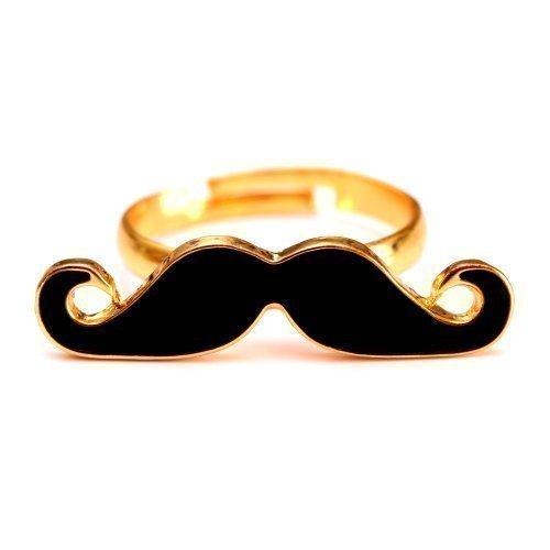 Schnurrbart Ring Mustache Einzelring Moustache Bart schwarz gold -