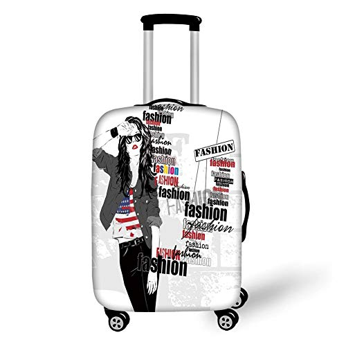 Travel Luggage Cover Suitcase Protector,Fashion House Decor,A Modern Girl with USA Flag Tshirt Colorful Thema Beauty in Street,Black White,for Travel,M
