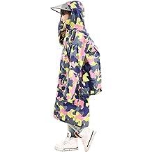 59fa0af5d7f1f2 Highdas Kinder Tarnung Poncho mit großem Hut und Schulranzen Platz  Baby-Raincoat