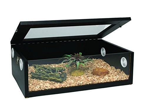 Monkfield Terranium Large Reptile Vivarium - 24 inch Black For Leopard Gecko/Corn...