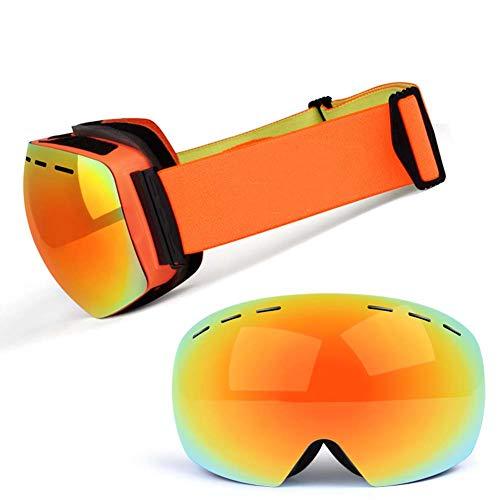 JXS-Goggles Skibrille, Doppelschichtlinse, Anti-Fog, Anti-UV, Schneesicher, Objektiv austauschbar, kann mit Myopie-Brillen verwendet Werden,A
