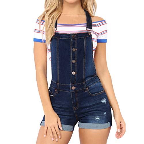 Ansenesna Hosenanzug Jeans Damen Kurz Sommer Elegant Latzhose Frauen Zerissene Vintage Casual Denim Jumpsuit -