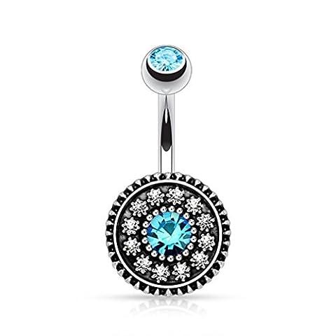 Bleu Fleur de Cristal nombril Piercing pour nombril Bijoux de corps vintage Bague Barre
