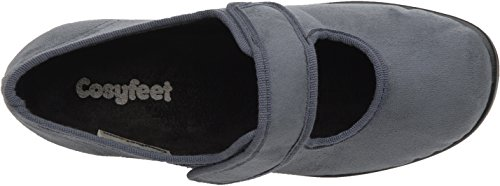 Cosyfeet Skye Schuhe - Besonders geräumig / Extra Roomy (breite Passform M+ Euro / 5E+ Width Fitting UK) Grau, Mikrofaser