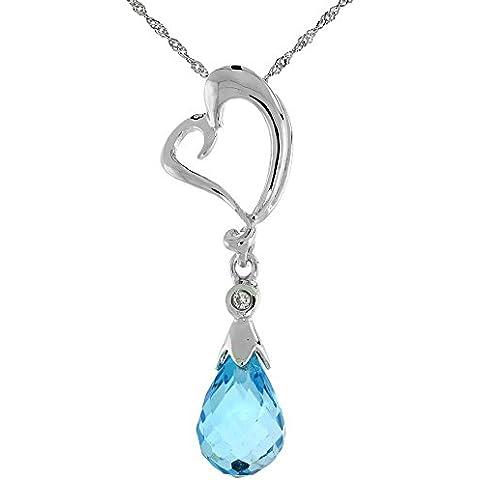 """Oro bianco 9 kt, a forma di cuore, intagliato & topazio blu, con diamante taglio brillante, 1 1/8 in., 28 mm di altezza, w/45,72 cm (18"""") catenina da"""