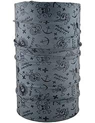HeadLOOP - Braga para el cuello, modelo para niño, pañuelo de microfibra multifunción, diseño de calaveras, color gris
