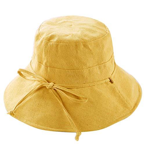 HUOLIMAO Breite, Große Krempe Sun Caps Frauen Leinen Baumwolle Bogen Faltbare Eimer Hut Outdoor Sommer Strand Angeln Fischer Kappe -