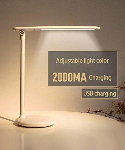 LED Tischlampe Augen-Pflege Tischlampe, Lampe mit USB-Anschluss, Bürolampe, Touch Control, 3-Gang-Farbtemperatur einstellbar, stufenlos dimmen, weiß