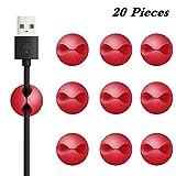 20 Stück Kabelhalter 3M Doppelseitige Klebstoff selbstklebende Kabelschelle, Schreibtisch Kabelhalter, Kabelführung für Zuhause Büro, Auto, PC, TV (red)