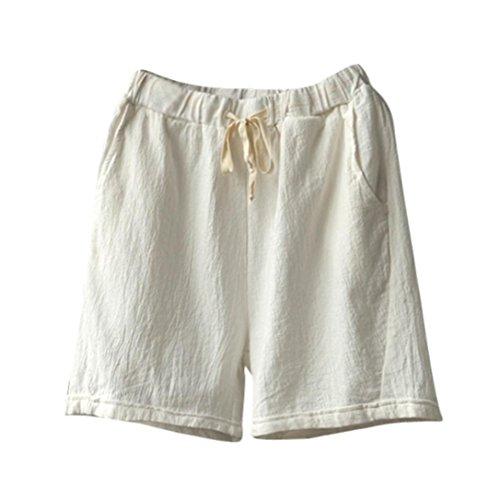 TUDUZ Bermuda Shorts Damen Shorts Sommer Kurze Hose mit Gummizug Frauen Große Größen Loose Stoffhose Stretch Hotpants(XXL,Weiß) - Baumwoll-satin Bermuda Short