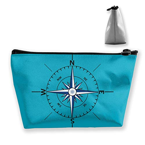 Nautical Compass Outline Makeup Bag Large Trapezoidal Storage Travel Bag Wash Cosmetic Pouch Pencil Holder Zipper