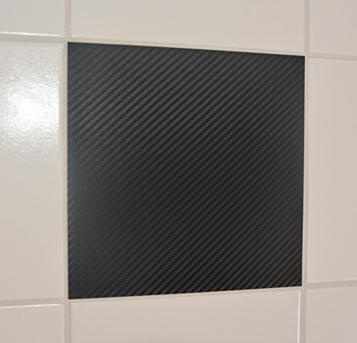 10 Stück Carbon Look schwarz Fliesenaufkleber 30x60cm -
