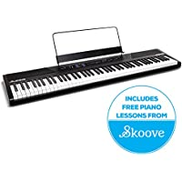 Alesis Recital | 88-Key Beginner Digital Piano / Electronic Keyboard with Full-Size Semi-Weighted Keys, Two Built-In 20 W Speakers, 5 Voices, Power Supply and 3-Months of Skoove Online Piano Lessons