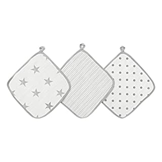 aden by aden + anais washcloth set, 100% cotton ,muslin, 3 pack, dusty
