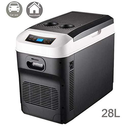 Kühlbox Auto und Steckdose 28L Mini Tragbare 12V 24V 230V Mobile Auto Kühlschrank Kühlboxen Leise,Dual-Core-Kühlung,Digitaler Bildschirm,Wärme/Kühlendes,Für Autos/Reise/Camping/Picknicks,Black