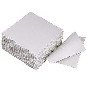 LANGING 50 Stücke Grau Schmuck Reinigungstuch Poliertuch Platin für Sterling Silber Gold