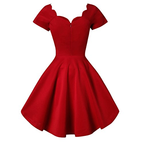 Crazycatz®Vintage Kleid Audrey Hepburn 50's Bubble Skirt Rockabilly Swing Dress Rot