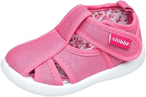 gibra® Freizeitschuhe Sneaker Sandalen aus Stoff für Babys, Kleinkinder, Kinder, Art. 0747, mit Klettverschluss, pink, Gr. 23