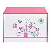 Flowers and Birds Kids Toy Box - Childrens Bedroom Storage Chest with Bench Lid by HelloHome