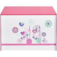 Hello Home 474FLW - Juguetero con diseño de flores y pájaros, color blanco y rosa