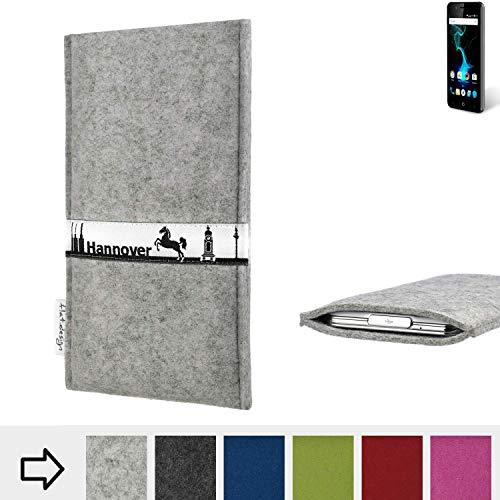 flat.design für Allview P6 Pro Schutz Tasche Handyhülle Skyline mit Webband Hannover - Maßanfertigung der Schutz Hülle Handytasche aus 100% Wollfilz (hellgrau) für Allview P6 Pro