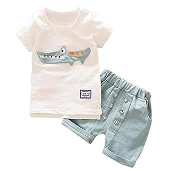 Jimmackey Bambino Ragazzi Camicia Stampa Coccodrillo T-Shirt Cime + Pulsante Pantaloncini Abiti Set (Azzurro, 12 mesi)