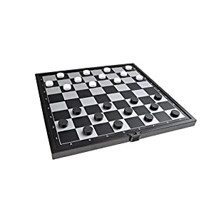 Quantum Abacus Juego de Mesa magnético (tamaño Compacto de Viaje): Damas – Piezas magnéticas, Tablero Plegable, 19cm x 19cm x 1cm, Mod. SC6644 (DE)
