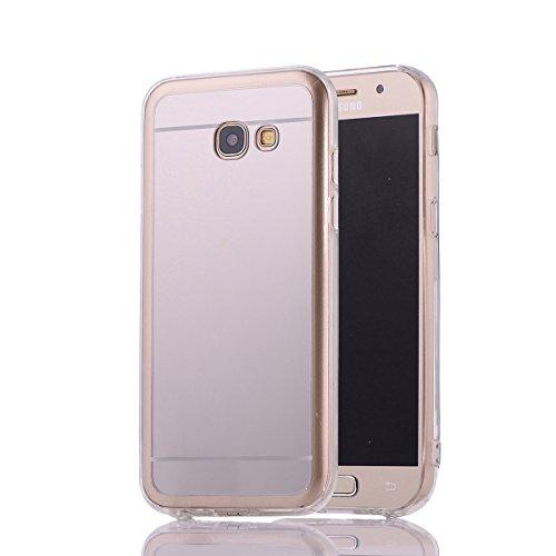 Cuitan Galvanoplastie Housse Case pour Apple iPhone 7 plus (5,5 Inch), Doux TPU + PC Miroir Retour Housse Back Cover Protecteur Etui Coque Cover Shell pour iPhone 7 plus (5,5 Inch) - Or Argent