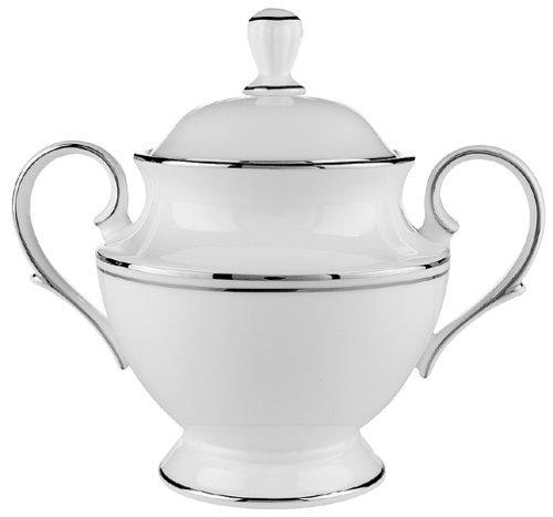Lenox Federal Platinum Bone China Sugar Bowl with Lid by Lenox China Sugar Bowl