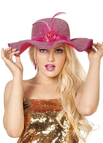 Karneval-Klamotten Glitzer-Hut rosa Glitter Damen-Hut mit Blume und - Das Royal Baby Kostüm