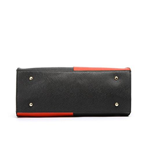 LeahWard® Damen Groß Mode Essener Berühmtheit Tragetaschen Damen Qualität Schnell verkaufend Modisch Handtaschen CWS00319B CWS00319C CWS00319 Schwarz/Rot V